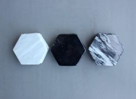 6 Porta vasos de Mármol (Hexagonal)