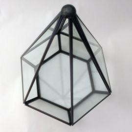 Terrario Pirámide de Vidrio Cobrizado