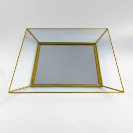 Espejo cuadrado avejentado dorado