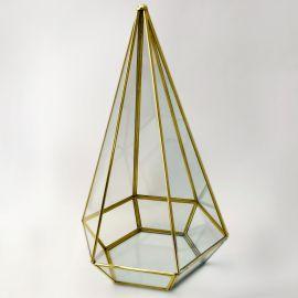Terrario Pirámide de Vidrio y Latón