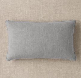 Cojin rectangular 53x33cm en tela 20% lino/80% poliester color gris