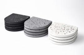 Posavasos de concreto terrazzo blanco