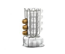 Rack con taza, platos y capsulas