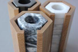 Set de 8 servilleteros de mármol gris