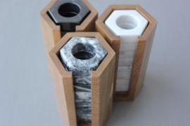 Set de 8 servilleteros de mármol negro