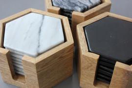 Set de 8 Coasters de Mármol gris  c/ base de madera