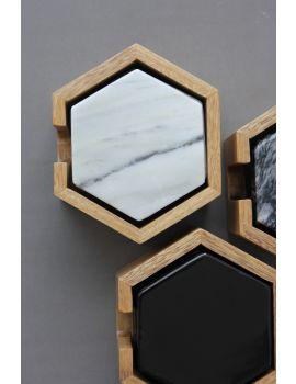 Set de 8 Coasters de Mármol Blanco c/ base de madera